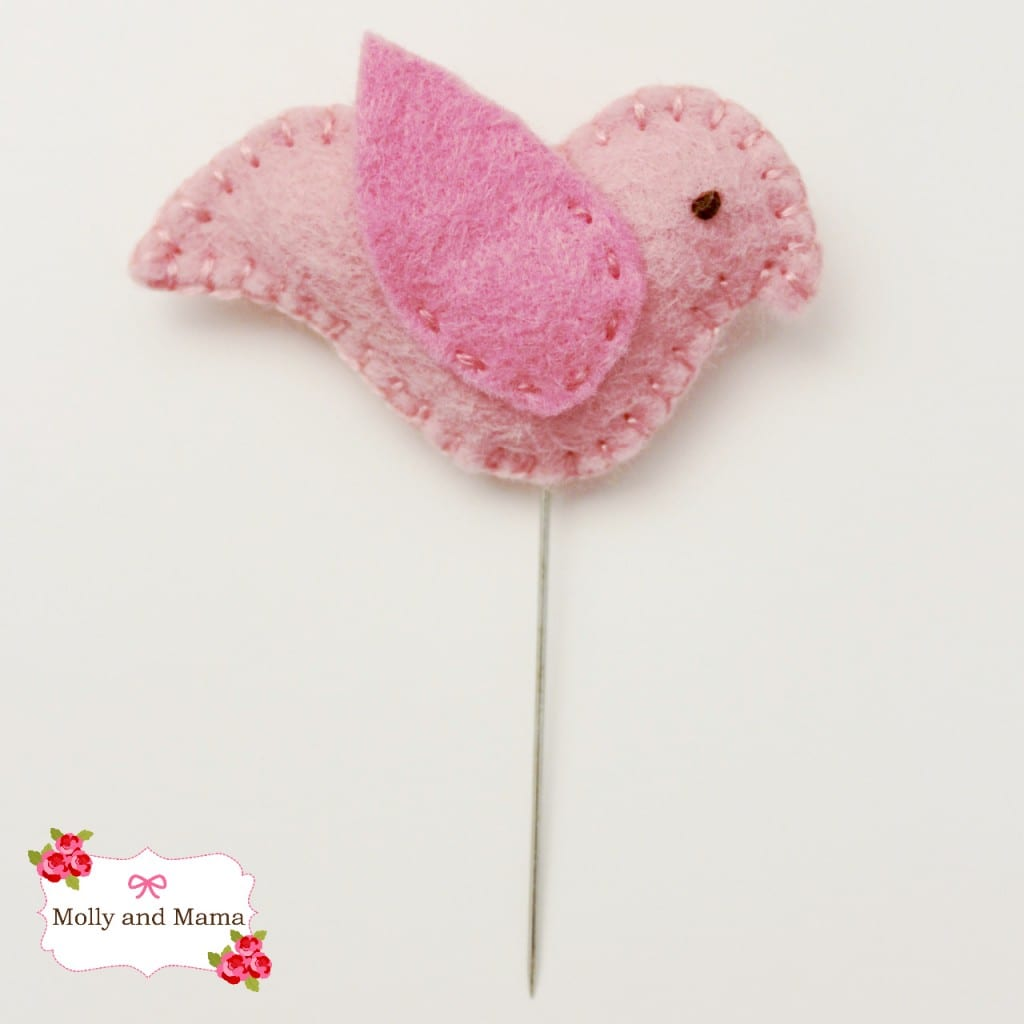 Birdie Pin used in the Felt Pear Pin Cushion tutorial by Molly and Mama