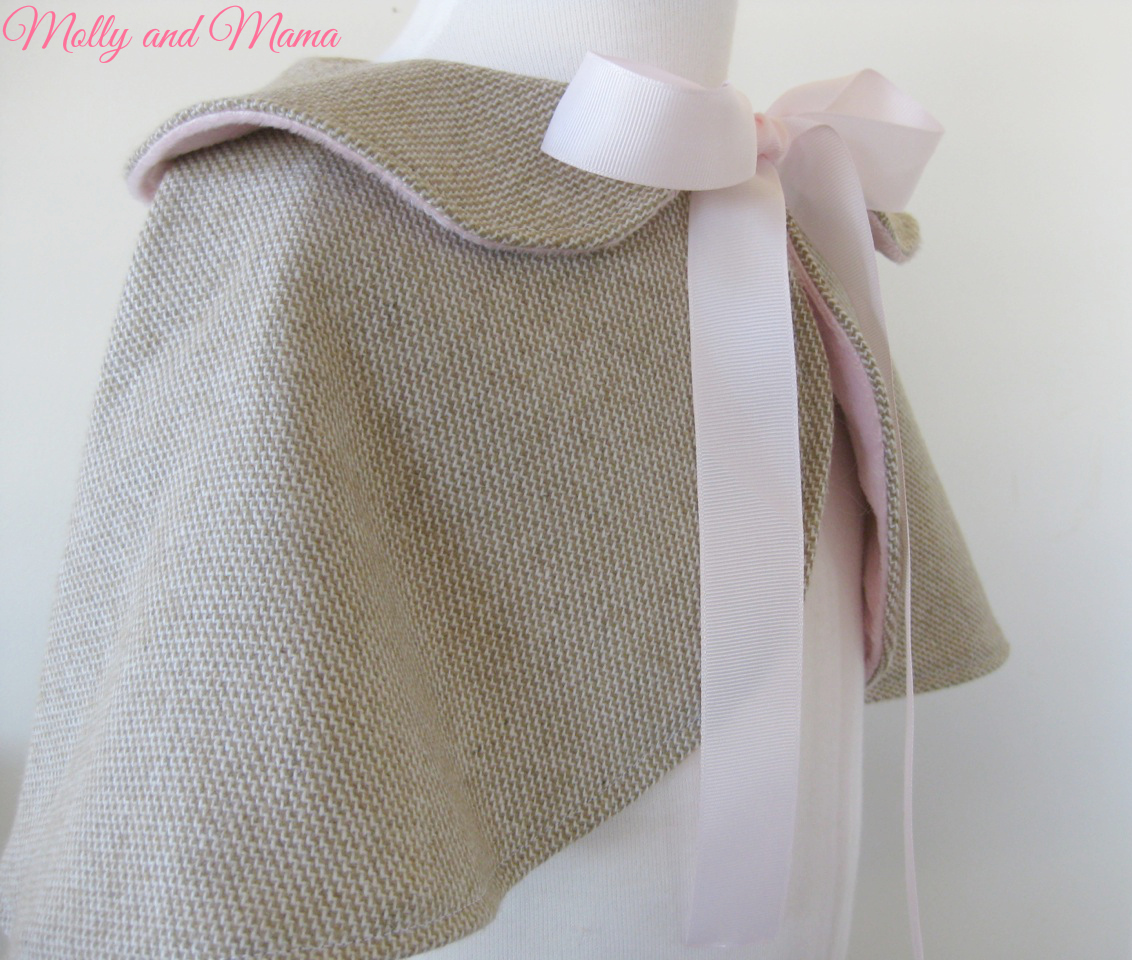 Side view of the Wool Cape by Molly and Mama