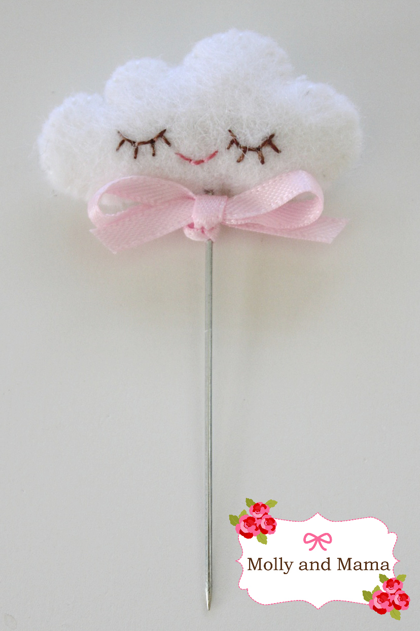 Sleepy Cloud Pin Cushion Topper by Molly and Mama