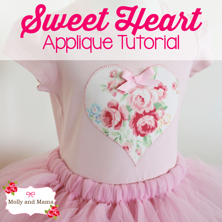 Make a Sweet Heart Appliqué - a beginner's tutorial by Molly and Mama