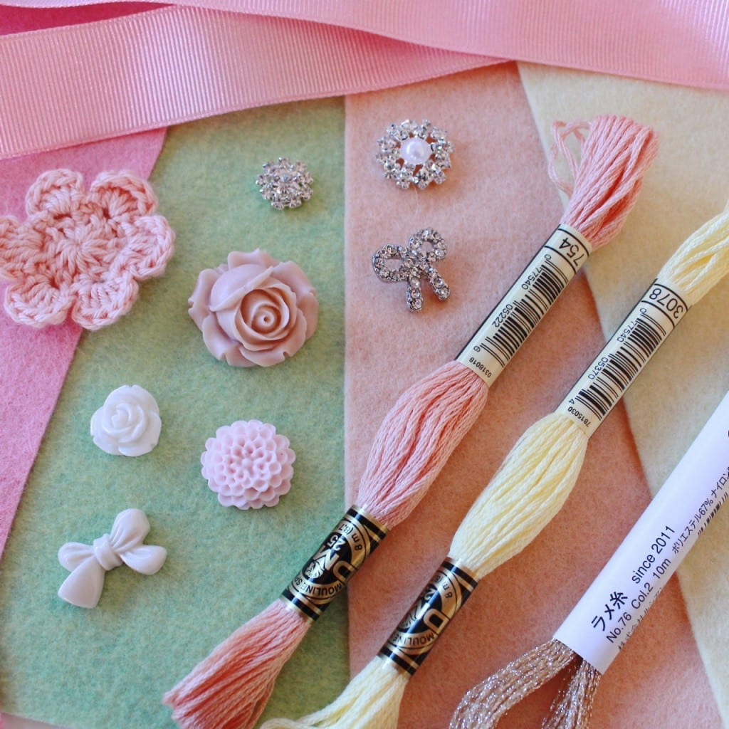 Choose some pastel felt and pretty embellishments from your stash