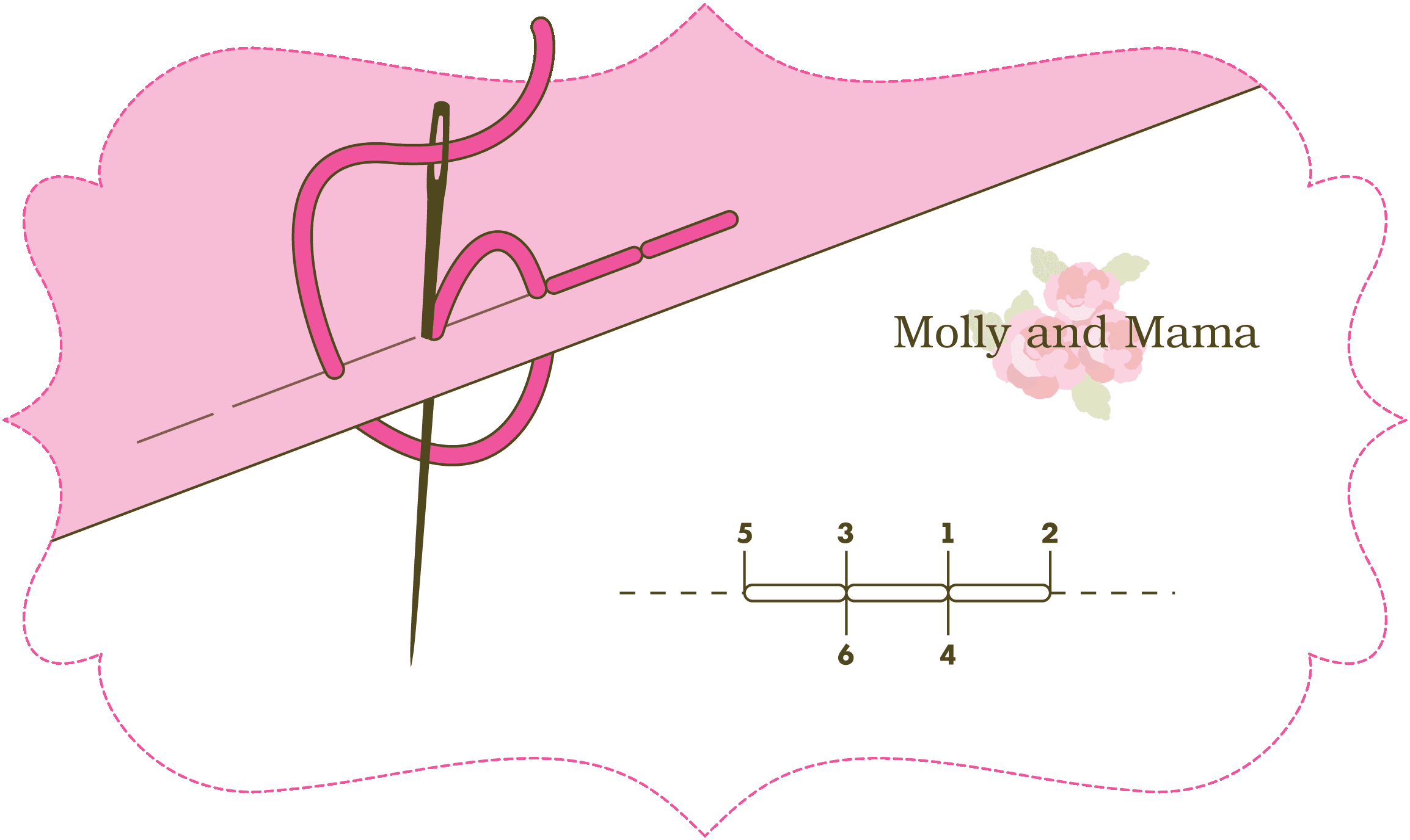Molly and Mama back stitch illustration