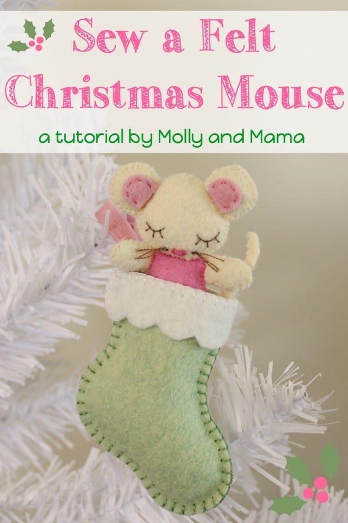 Sew this sweet Christmas sugar mouse. A free pattern from Molly and Mama