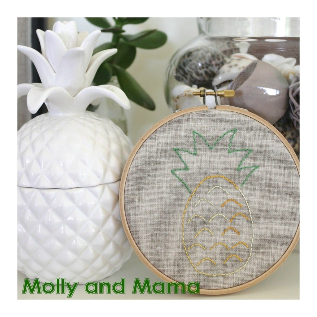 Pineapple Embroidery hoop art project by Molly and Mama