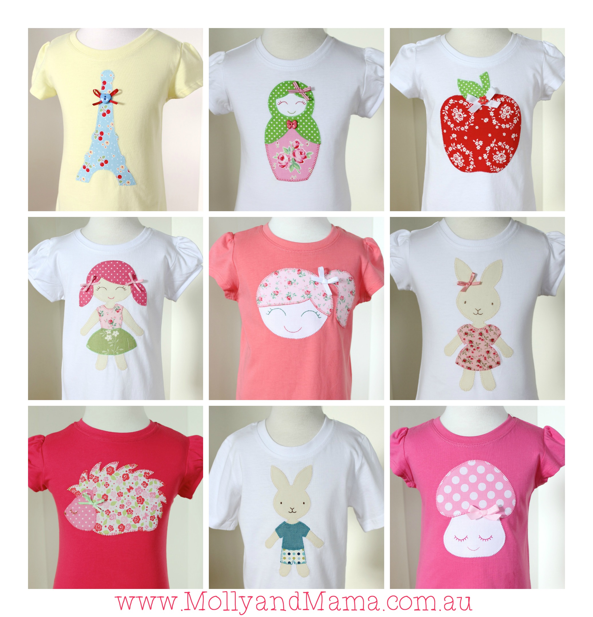 Appliqué tees by Molly and Mama