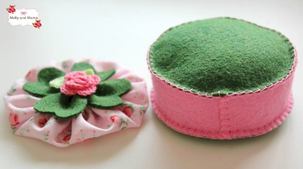 Shamrock pin cushion top and base - Molly and Mama