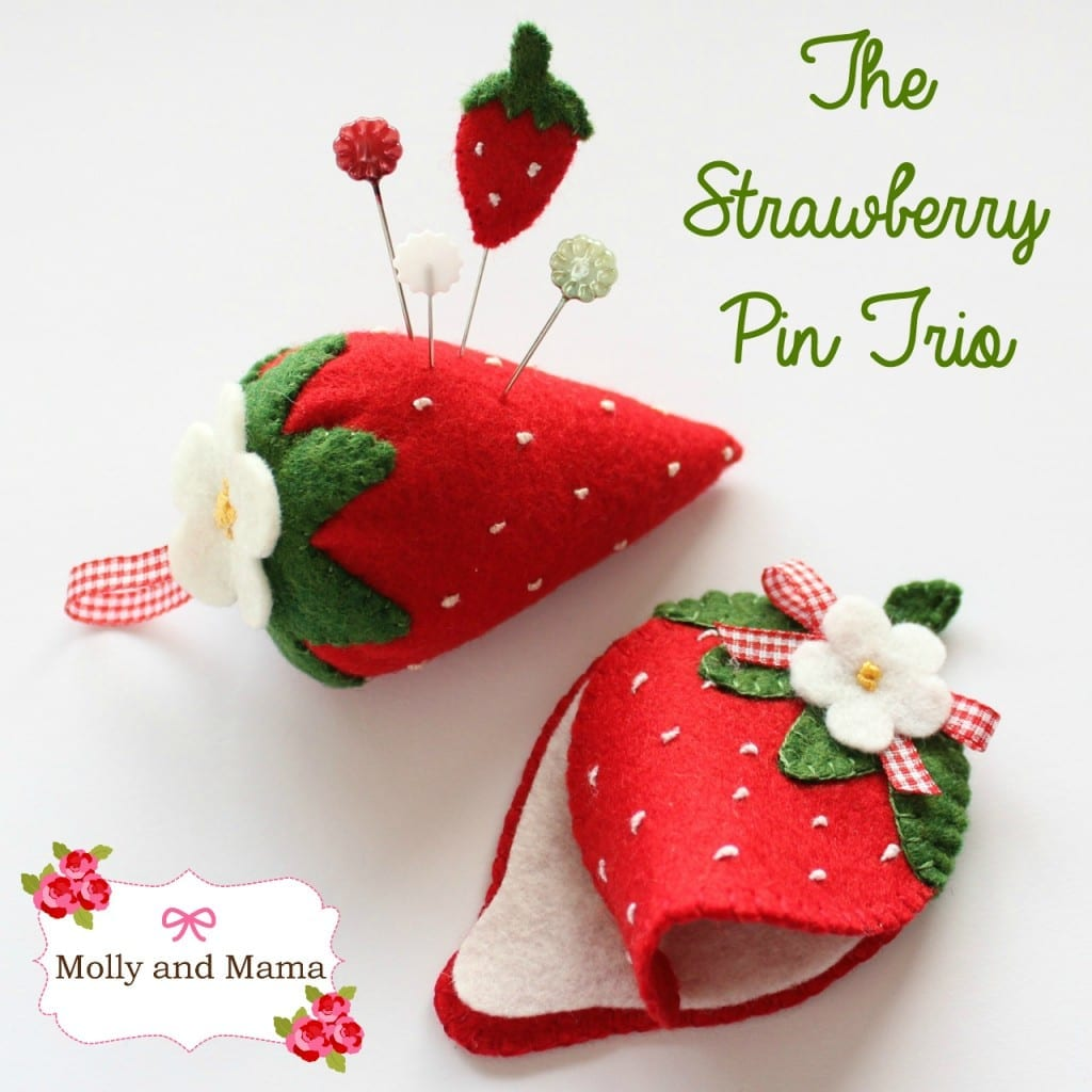 The Strawberry Pin Trio by Molly and Mama