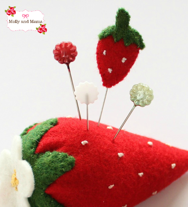 The Strawberry pin topper - Molly and Mama