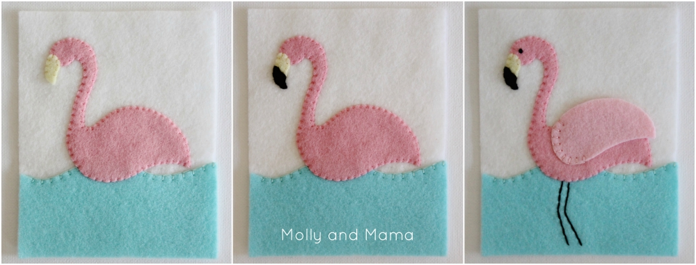 Stitch a felt flamingo pin cushion from Molly and Mama