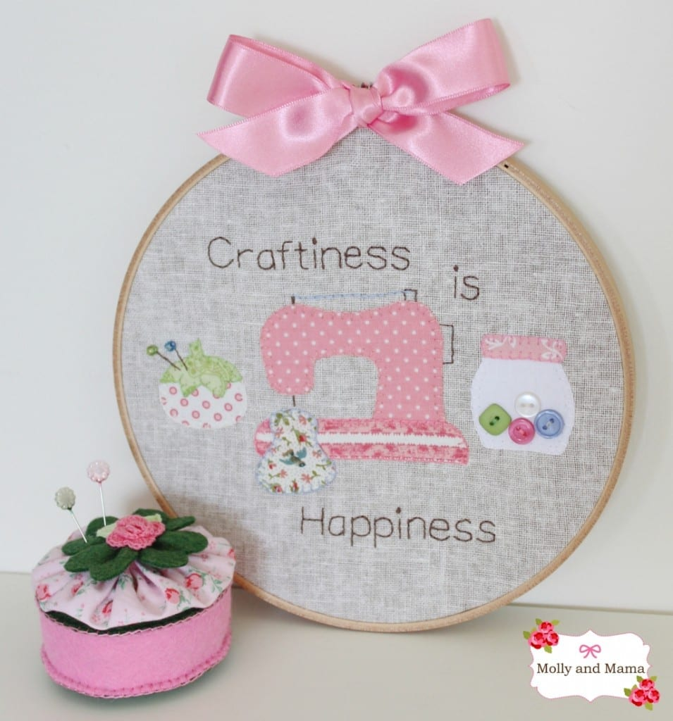 Craftiness is Happiness hoop art project from Molly and Mama