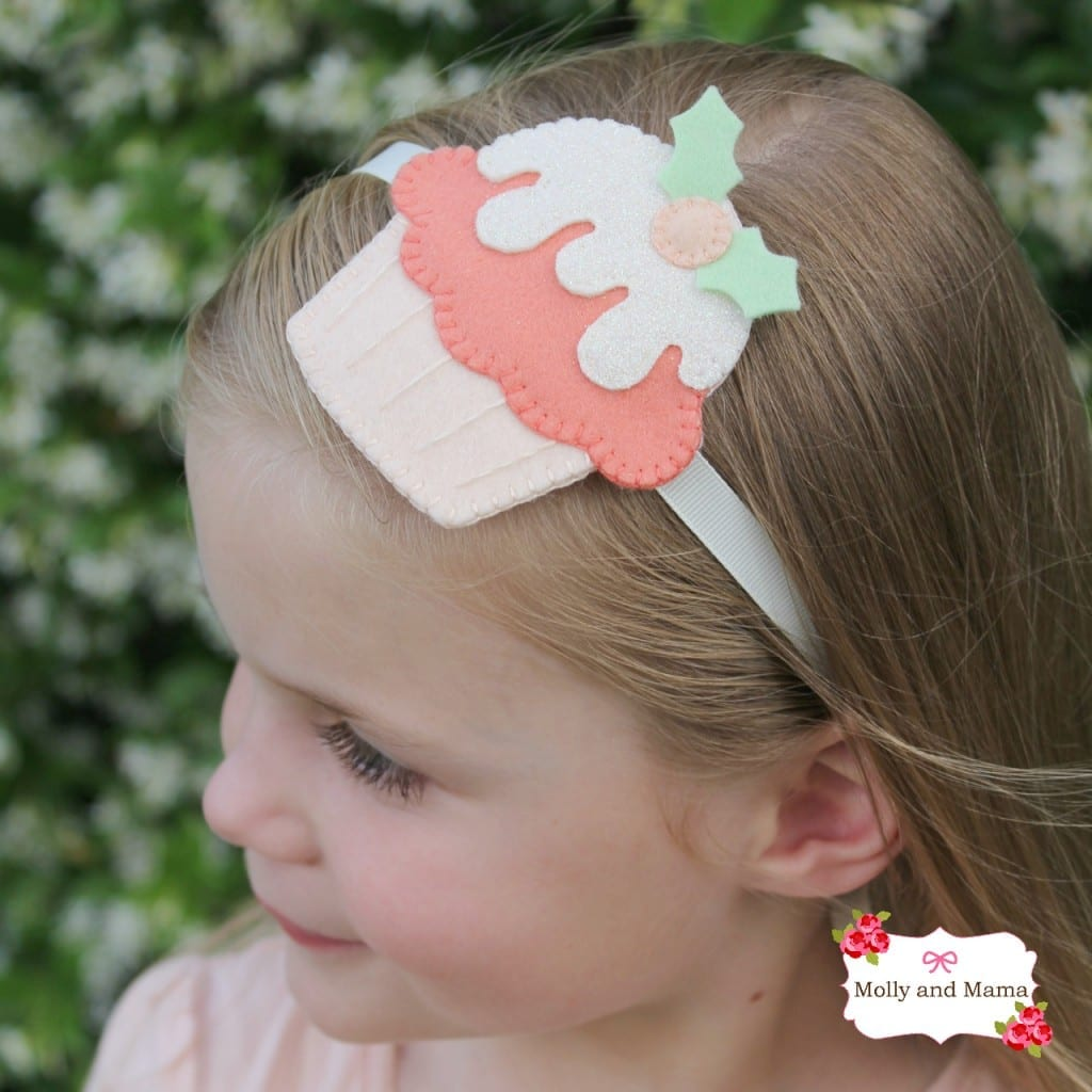 Cupcake Hair Accessory made with the 'Festive Felties' pattern from Molly and Mama