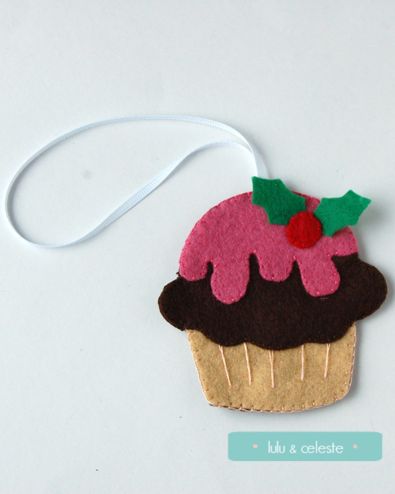 The Festive Cupcake stitched by Lulu & Celeste, using a Molly and Mama pattern