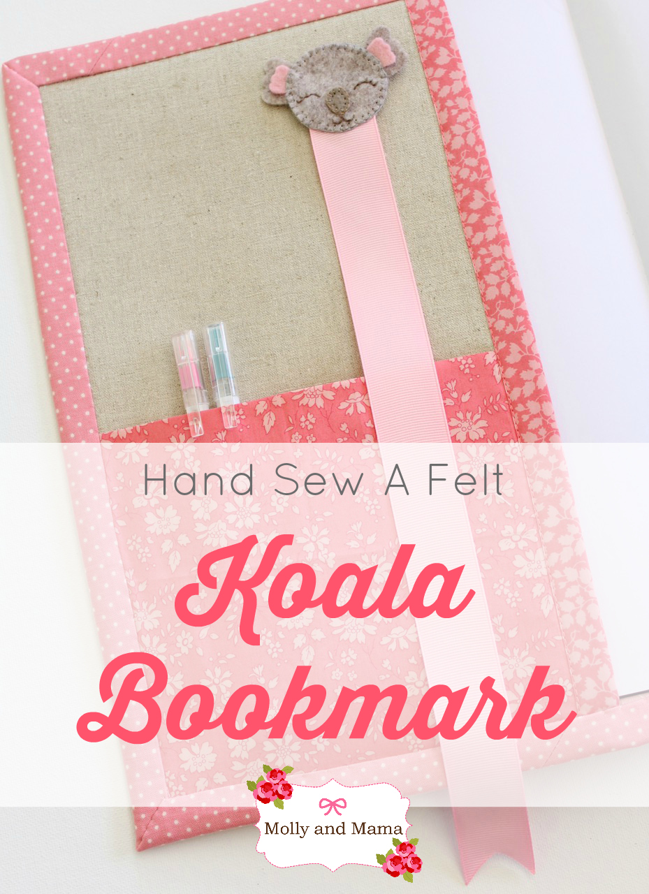 Hand Sew A Felt Koala Bookmark - a Molly and Mama tutorial