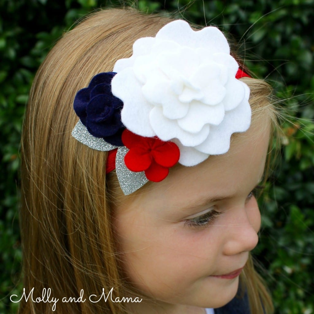 the Coco Flower Crown in navy, red and white