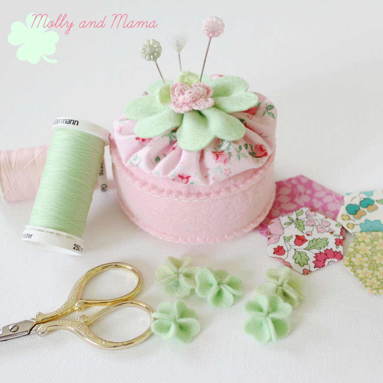Lucky Pin Cushion with mini shamrocks