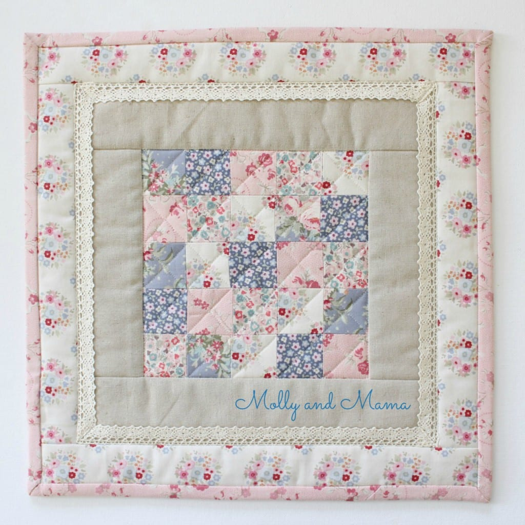 Mini quilt for the Three Kittens Quilt Swap - Molly and Mama