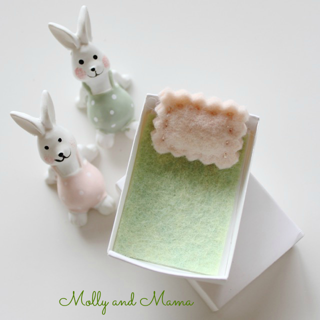 A matchbox bed for the Bitty Bunnies from Molly and Mama
