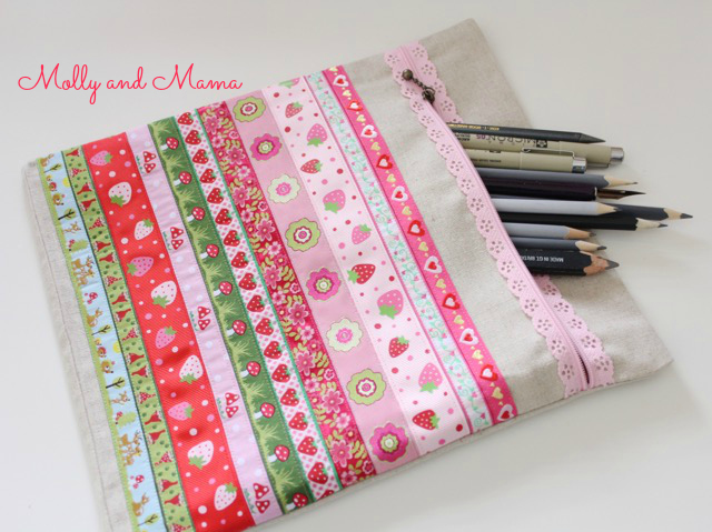 Scrappy braid pencil case by Molly and Mama
